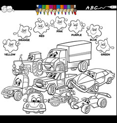 basic colors color book with cars characters vector image