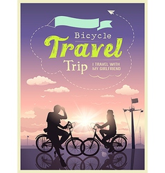 Bicycles travel trip I and my girlfriend design vector image