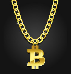 Bitcoin iconical symbol on the golden chain vector