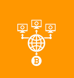 bitcoin mining icon vector image