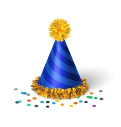 Blue birthday hat with spirals vector image