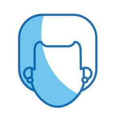 blue line head girl no face design vector image