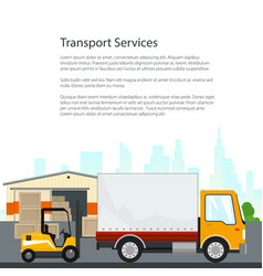 Brochure warehouse and transportation services vector
