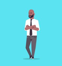 Businessman in formal wear folded hands standing vector