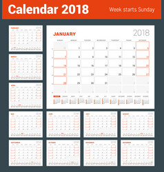 calendar template for 2018 year set of 12 months vector image