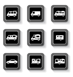 camper buttons set vector image vector image