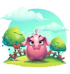 cartoon big piggy girl vector image