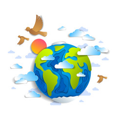 cartoon earth clouds birds flying and sun modern vector image