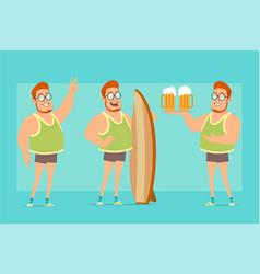 cartoon flat funny fat boy character set vector image