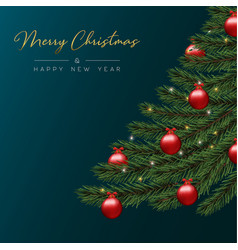 Christmas card of red bauble balls in pine tree vector