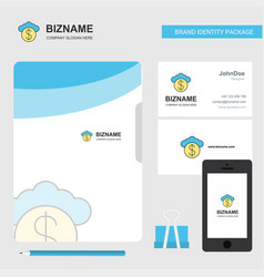 cloud dollar business logo file cover visiting vector image