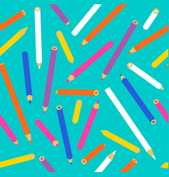 color pencil seamless pattern of school supplies vector image