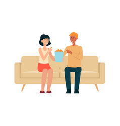 Couple sitting on couch and eating popcorn cartoon vector
