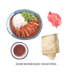 Creative isolated watercolor sushi on white vector