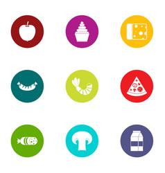 Crisp icons set flat style vector