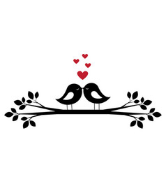 Cute birds kiss and red hearts vector