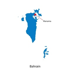 Detailed map of Bahrain and capital city Manama vector