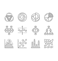 Diagrams linear icons set schematic vector