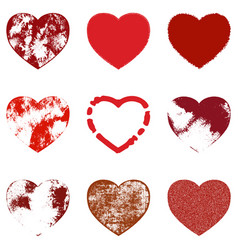 distressed hearts set vector image