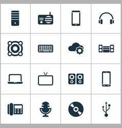 electronics icons set with sound system radio vector image