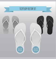 empty flip flop set design template of vector image