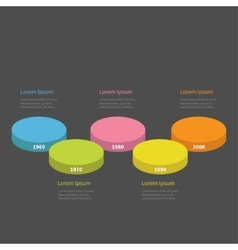Five step Timeline horizontal round colorful stage vector