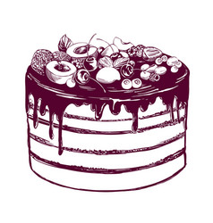 fruit cake birthday dessert symbol of the vector image