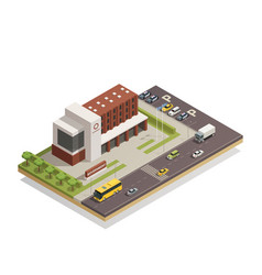 Government building outdoor isometric composition vector