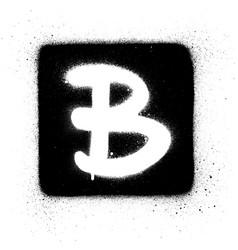 graffiti b font sprayed in white over black square vector image