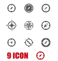 grey compass icon set vector image