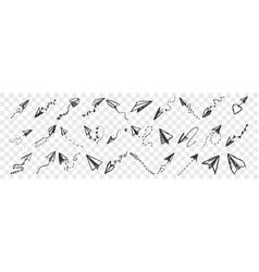 hand drawnpaper planes doodle set vector image