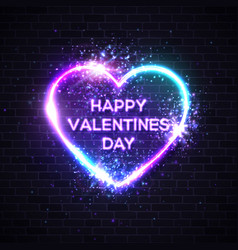 happy valentines day background with neon text vector image