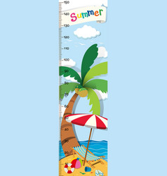 Height measurement chart with beach background vector