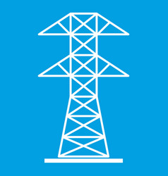 High voltage tower icon white vector