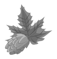 Hop cone icon gray monochrome style vector