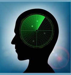 Human head with green military radar inside vector