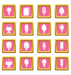 ice cream icons set pink square vector image