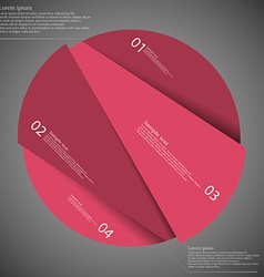 Infographic template of circle cut to four red vector