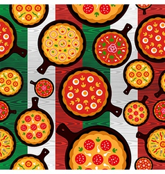 Italian pizza flavors pattern vector