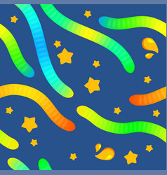 jelly worms cartoon seamless pattern with stars vector image