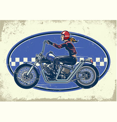 Lady biker ride chopper motorcycles with vintage vector