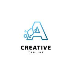 letter a alphabet water logo design vector image