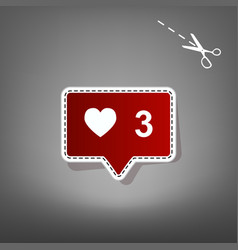 like and comment sign red icon with for vector image