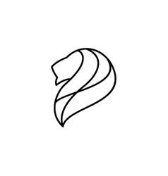 lion head logo icon line outline monoline vector image