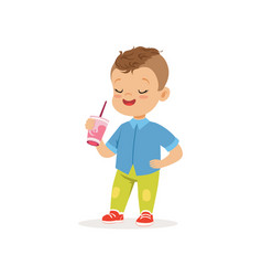 Little preschool kid standing with cocktail in vector