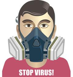 Man in a half respirator coronavirus prevention vector