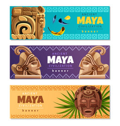 Maya civilization horizontal banners vector