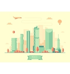 Mexico skyline flat design vector image