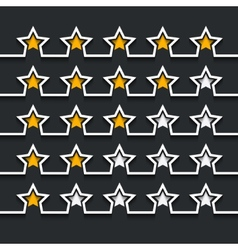Modern stars rating set on black vector