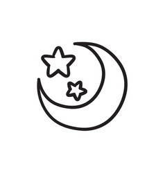 Moon and stars sketch icon vector